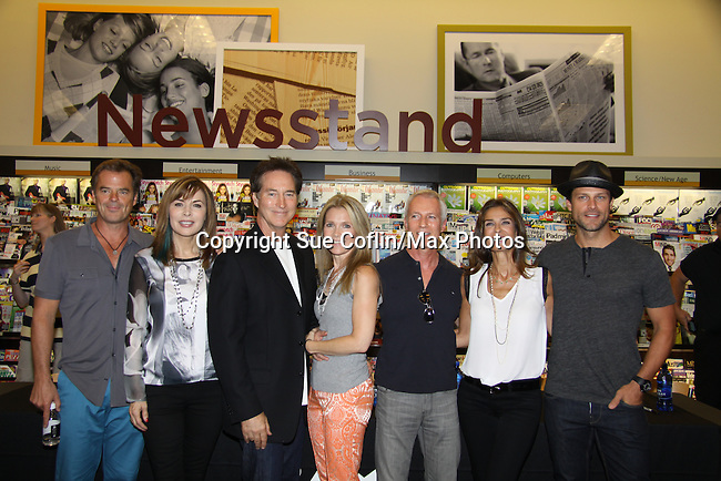 """Days Of Our Lives - Wally Kurth, Lauren Koslow, Drake Hogestyn, Melissa Reeves, Greg Meng (co-executive producer and author of this book), Kristen Alfonso and Greg Vaughan meet the fans as they sign """"Days Of Our Lives Better Living"""" on September 27, 2013 at Books-A-Million in Nashville, Tennessee. (Photo by Sue Coflin/Max Photos)"""