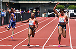 Shelly-Ann Fraser-Pryce of Jamaica (C) crosses the finish line to win the Women's 100 meters on the final day of the Prefontaine Classic at Hayward Field in Eugene, Oregon, USA, 30 MAY 2015. (EPA photo by Steve Dykes)
