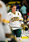 30 January 2010: University of Vermont Catamount defenseman Kevan Miller, a Junior from Los Angeles, CA, awaits the start of play prior to a game against the University of Maine Black Bears at Gutterson Fieldhouse in Burlington, Vermont. The Maine Black Bears and the Catamounts played to a 4-4 tie in the second game of their America East weekend series. Mandatory Credit: Ed Wolfstein Photo
