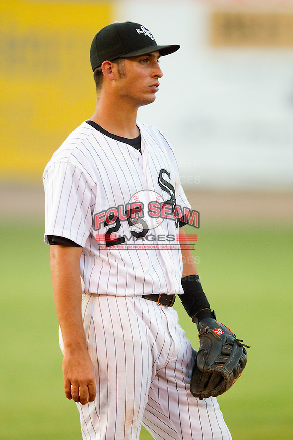 Third baseman Rangel Ravelo #25 of the Bristol White Sox on defense against the Greeneville Astros at Boyce Cox Field July 2, 2010, in Bristol, Tennessee.  Photo by Brian Westerholt / Four Seam Images