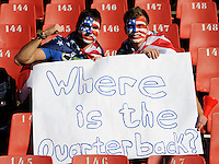 Confused USA football fans ask where the quarterback is. USA vs Slovenia in the 2010 FIFA World Cup at Ellis Park in Johannesburg, South Africa on June 18th, 2010.