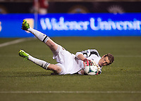 Zac MacMath (18) of the Philadelphia Union makes a save during a Major League Soccer match at PPL Park in Chester, PA.  Philadelphia defeated Chicago, 1-0.