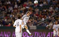 LA Galaxy midfielder Eddie Lewis heads a ball. Real Salt Lake defeated the LA Galaxy 2-0 at Home Depot Center stadium in Carson, California on Saturday June 13, 2009.   .
