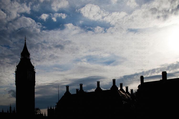 Big Ben silhouette, London, England, United Kingdom