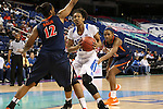 03 March 2016: Duke's Crystal Primm (13) is defended by Virginia's Breyana Mason (12) and Aliyah Huland El (23). The Duke University Blue Devils played the University of Virginia Cavaliers at the Greensboro Coliseum in Greensboro, North Carolina in the Atlantic Coast Conference Women's Basketball tournament and a 2015-16 NCAA Division I Women's Basketball game. Duke won the game 57-53.