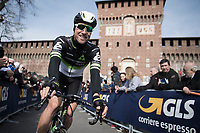 Bernhard 'Bernie' Eisel (AUT/DimensionData) riding by towards the start<br /> <br /> race start in Milano for the 108th Milano - Sanremo 2017