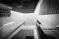 Chicago buildings upward view with Willis Tower (Sears Tower) in Black and White