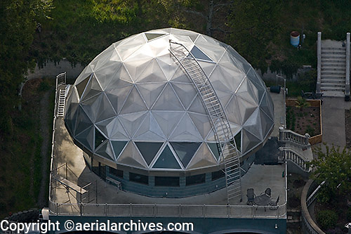 aerial photograph geodesic dome residence, Sonoma mountain, Petaluma, Sonoma county, California