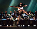 Edinburgh, UK. 10.08.2014.  INALA, makes its Wrold Premiere at the Edinburgh Playhouse as part of the Edinburgh International Festival. Choreographed by Mark Baldwin, and produced by the Sisters Grimm, the production features dancers from Rambert and the Royal Ballet, with live, on stage, music from LadySmith Black Mambazo, which was composed in collaboration between Ladysmith and Ella Spira. Picture shows: Mbulelo Ndabeni and Ladysmith Black Mambazo.  Photograph © Jane Hobson.