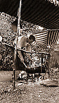 North East PA: Lake Erie Cookout, Brady Stewart mixing food in the pots  - 1904. During the early 1900s, the Stewart family vacationed on Lake Erie near North East Pennsylvania. Since hotels and motels were non-existent, camping was the only viable option for a large number of vacationers