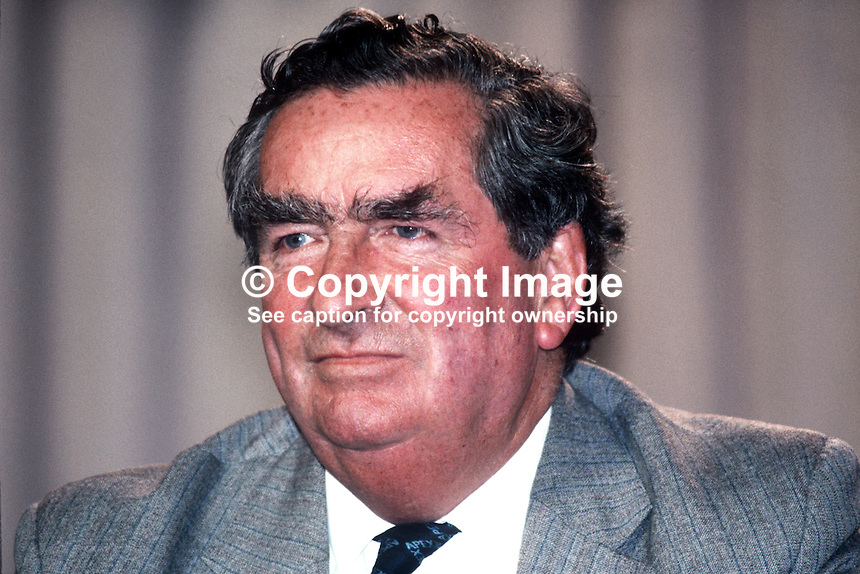 Denis Healey, MP, deputy leader, Labour Party, UK, at annual conference, Blackpool, September 1982. 19820900147DH1.<br /> <br /> Copyright Image from Victor Patterson, 54 Dorchester Park, Belfast, UK, BT9 6RJ<br /> <br /> t1: +44 28 9066 1296 (from Rep of Ireland 048 9066 1296)<br /> t2: +44 28 9002 2446 (from Rep of Ireland 048 9002 2446)<br /> m: +44 7802 353836<br /> <br /> e1: victorpatterson@me.com<br /> e2: victorpatterson@gmail.com<br /> <br /> The use of any of my copyright images is subject to my Terms &amp; Conditions.<br /> <br /> It is IMPORTANT that you familiarise yourself with them. They are available on my website, victorpatterson.com.<br /> <br /> None of my copyright images may be used on the Internet unless they are visibly watermarked, i.e. &copy; Victor Patterson within the body of the image. Metadata denoting my copyright must NOT be deleted. <br /> <br /> Web use is extra at currently recommended NUJ rates.