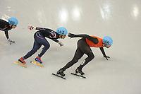 OLYMPICS: SOCHI: Iceberg Skating Palace, 13-02-2014, Shorttrack, 5000m Relay Men, Semifinals, Da Woon Sin (#243 | KOR), Daan Breeuwsma (#246 | NED), ©photo Martin de Jong