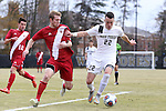 29 November 2015: Wake Forest's Jack Harrison (ENG) (22) and Indiana's Billy McConnell (left). The Wake Forest University Demon Deacons hosted the Indiana University Hoosiers at Spry Stadium in Winston-Salem, North Carolina in a 2015 NCAA Division I Men's Soccer Tournament Third Round match. Wake Forest won the game 1-0.