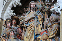 St John revealing the Lamb of God, polychrome high relief in the second row on the North side of the Gothic choir screen in the North ambulatory, 1490-1530, commissioned by canon Adrien de Henencourt and made by the sculptor Antoine Ancquier, depicting the life of St John the Baptist, at the Basilique Cathedrale Notre-Dame d'Amiens or Cathedral Basilica of Our Lady of Amiens, built 1220-70 in Gothic style, Amiens, Picardy, France. Amiens Cathedral was listed as a UNESCO World Heritage Site in 1981. Picture by Manuel Cohen