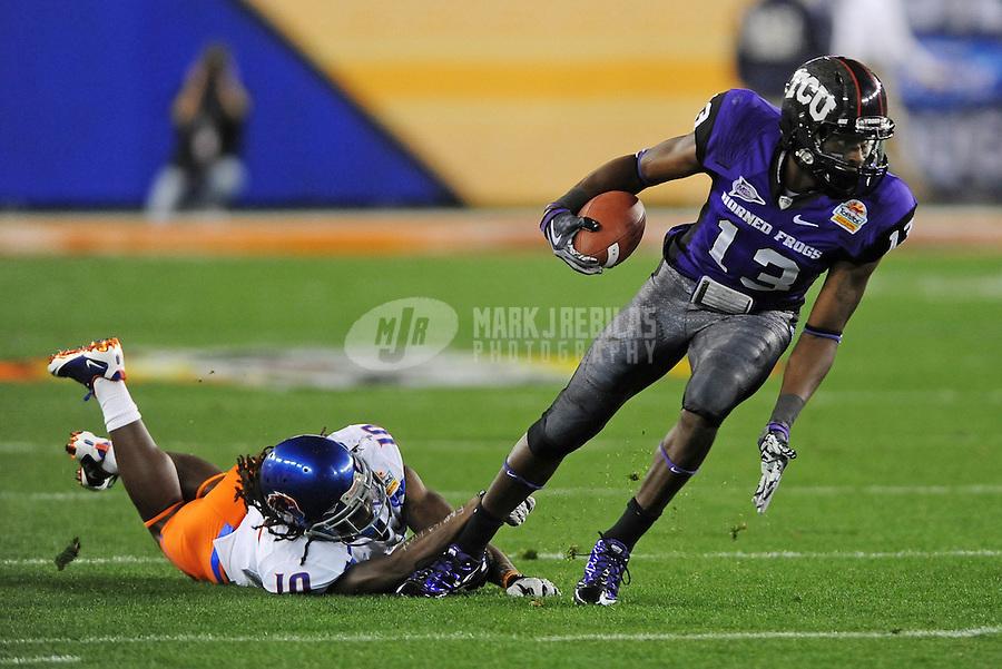 Jan. 4, 2010; Glendale, AZ, USA; TCU Horned Frogs wide receiver (13) Antoine Hicks against the Boise State Broncos in the 2010 Fiesta Bowl at University of Phoenix Stadium. Boise State defeated TCU 17-10. Mandatory Credit: Mark J. Rebilas-