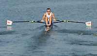 Brest, Belarus. GBR LM1X Peter CHAMBERS, competing in Sat'sSemi Final at the 2010. FISA U23 Championships. Saturday,  24/07/2010.  [Mandatory Credit Peter Spurrier/ Intersport Images]