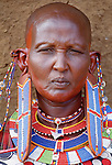 Portrait of Maasai tribeswoman, Kenya
