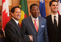 Montreal - CANADA -  File Photo - Montreal Mayor Michael Applebaum (L) and Benin's President  Doctor Thomas Boni Yari (R) at City Hall, January 13, 2013.<br /> <br />  On June 17, 2013 Applebaum was arrested and indicted on 14 charges including fraud, conspiracy, breach of trust, and corruption in municipal affairs.<br /> <br /> Photo : Agence Quebec Presse - Pierre Roussel