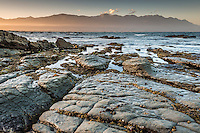 Limestone rock formations on Kaikoura coastline at sunset with Seaward Kaikouras mountains in background, Kaikoura, Marlborough Region, South Island, East Coast, New Zealand