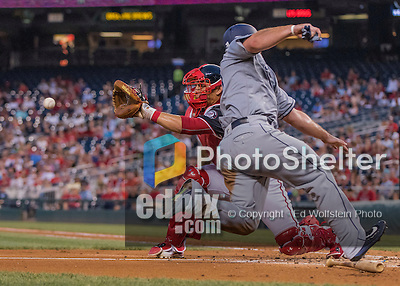 22 July 2016: Washington Nationals catcher Wilson Ramos is unable to apply the tag on a sliding Brett Wallace in the 5th inning of a game against the San Diego Padres at Nationals Park in Washington, DC. The Padres defeated the Nationals 5-3 to take the first game of their 3-game, weekend series. Mandatory Credit: Ed Wolfstein Photo *** RAW (NEF) Image File Available ***