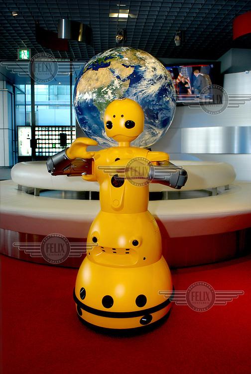 Wakamaru Robot (Home Robot) at the main entrance of Mitsubishi Heavy Industries building at Shanagawa Headquarters...