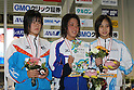 (L to R) Miyu Otsuka, .Miho Takahashi, Emu Higuchi, FEBRUARY 11, 2012 - Swimming : The 53rd Japan Swimming Championships (25m) Women's 400m Individual Medley Victory Ceremony .at Tatsumi International Swimming Pool, Tokyo, Japan. (Photo by YUTAKA/AFLO SPORT) [1040]