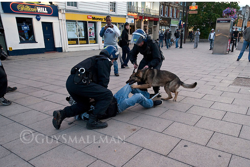 Riot Police clashed with gangs of youths  who had gathered near the station. This was following a night of clashes in nearby Tottenham. There was looting following the initial disturbances.