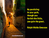 Quote:  By persisting in your path, though you forfeit the little, you gain the great.  By Ralph Waldo Emerson.  Meme.