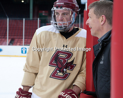 Ryan Fitzgerald (BC - 19), Bert Lenz (BC - Director-Sports Medicine) - The Boston College Eagles practiced at Fenway on Friday, January 6, 2017, in Boston, Massachusetts.