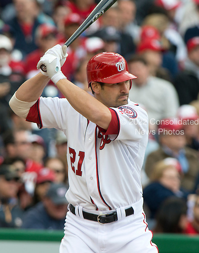 Washington Nationals left fielder Xavier Nady (21) bats in the fourth inning against the Cincinnati Reds at Nationals Park in Washington, D.C. on Thursday, April 12, 2012.  The Nationals won the game in 10 innings 3 - 2..Credit: Ron Sachs / CNP