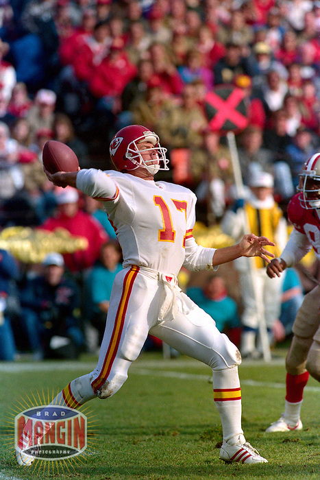 SAN FRANCISCO, CA - Quarterback Steve DeBerg of the Kansas City Chiefs in action during a game against the San Francisco 49ers at Candlestick Park in San Francisco, California in 1992. Photo by Brad Mangin