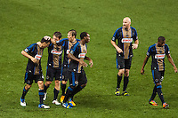 of the Philadelphia UnionMichael Farfan (21) celebrates scoring with Brian Carroll (7). The Philadelphia Union defeated the CD Chivas USA 3-1 during a Major League Soccer (MLS) match at PPL Park in Chester, PA, on July 12, 2013.