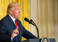 United States President Donald J. Trump conducts a joint press conference with Prime Minister Paolo Gentiloni of Italy  in the East Room of the White House in Washington, DC on Thursday, April 20, 2017.<br /> CAP/MPI/RS<br /> &copy;RS/MPI/Capital Pictures