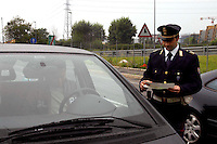 Rome   April  30 2007.Police Road check car in transit
