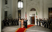 President Barack Obama and First Lady Michelle Obama welcome Prime Minister of Italy Matteo Renzi and Mrs. Agnese Landini at the North Portico  of the White House on October 18, 2016 in Washington, DC. <br /> Credit: Olivier Douliery / Pool via CNP