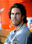 10 July 2008: Arizona Diamondbacks' starting pitcher Dan Haren sits in the dugout during a game against the Washington Nationals at Nationals Park in Washington, DC. The Diamondbacks defeated the Nationals 7-5 in 11 innings to take the rubber match of their 3-game series in the Nation's Capitol...Mandatory Photo Credit: Ed Wolfstein Photo
