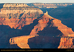 Isis Temple and Kaibab Plateau at Sunrise from Mather Point, South Rim, Grand Canyon, Arizona