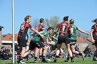 KORFBAL: REDUZUM: Sportpark Reduzum, 28-04-2013, Veld Hoofdklasse A, KV Mid Fryslân-LDODK AH Gorredijk, Eindstand 13-19, Thomas Brouwer (#15 | MF), Erwin Zwart (#11 | LDODK), Hoekstra (#1 | MF), Betty Jansma (#9 | LDODK), ©foto Martin de Jong