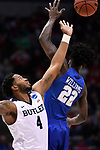 MILWAUKEE, WI - MARCH 18: Butler Bulldogs forward Tyler Wideman (4) reaches for the opening tip off  during the 2017 NCAA Men's Basketball Tournament held at BMO Harris Bradley Center on March 18, 2017 in Milwaukee, Wisconsin. (Photo by Jamie Schwaberow/NCAA Photos via Getty Images)