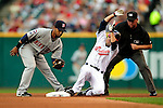 4 September 2009: Cleveland Indians' utilityman Jamey Carroll slides safely into second with a first inning double against the Minnesota Twins at Progressive Field in Cleveland, Ohio. Carroll went 3 for 5 as the Indians defeated the Twins 5-2 to take the first game of their three-game weekend series. Mandatory Credit: Ed Wolfstein Photo