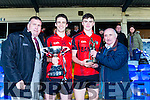Patrick O'Sullivan presents Kenmare' captain Stephen O'Brien the cup  and Jimmy Roche Castleisland MArt presents the man of the match to Sean O'Shea after winning  the County Intermediate Championship final against Templenoe in Fitzgerald Stadium on Sunday