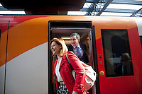 Prime Minster and Labour Party leader Gordon Brown and his wife Sarah arrive in Bournemouth during a day spent campaigning in the South West of England.