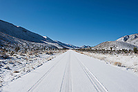Snow covered high desert road, Death Valley national park, California