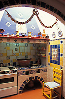 Kitchen in the the Robert Brady House-Museum in Cuernavaca, Morelos, Mexico. The casa de la Torre, the former house of American Robert Brady, now houses his collection of folk art from Mexico and around the world.