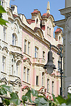 Pastel colored buildings in Prague, Czech Republic.