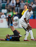 Ryan Johnson (left) goes down on the play against Rodney Wallace (right) The San Jose Earthquakes tied DC United 2-2 at Buck Shaw Stadium in Santa Clara, California on July 25, 2009.
