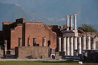 Administrative buildings and Colonnade,in the Forum, Pompeii, 2nd century BC,with two-storey colonnaded porticoes of Doric columns