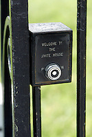 Jun 14, 2004; Washington DC, Washington, USA; Door Bell button welcoming people to The White House outside the main gate along Penn Ave. Graphic, art. Landmark home to the President of the Unites States of America.