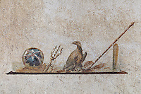 Fresco of the symbols of the god Jupiter, including an eagle and thunderbolt, in a cubiculum, or small closed room off the front hall of the Casa dell Efebo, or House of the Ephebus, Pompeii, Italy. This is a large, sumptuously decorated house probably owned by a rich family, and named after the statue of the Ephebus found here. Pompeii is a Roman town which was destroyed and buried under 4-6 m of volcanic ash in the eruption of Mount Vesuvius in 79 AD. Buildings and artefacts were preserved in the ash and have been excavated and restored. Pompeii is listed as a UNESCO World Heritage Site. Picture by Manuel Cohen