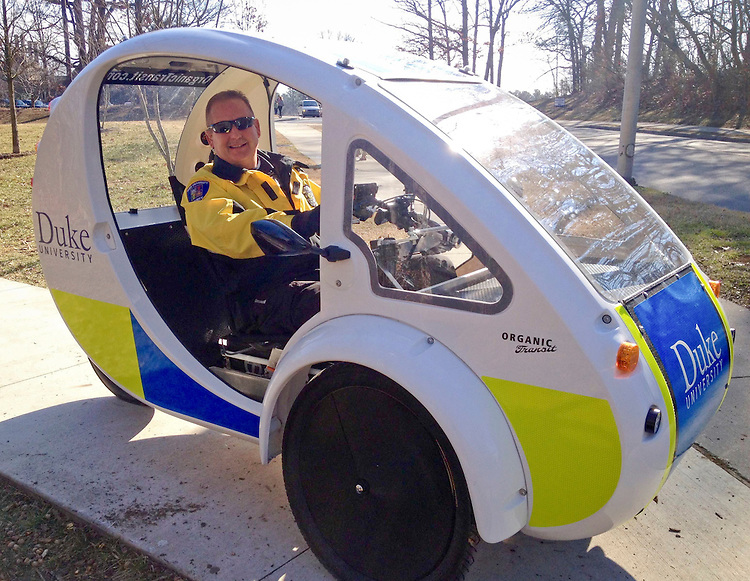 Lauren Hagedorn<br /> Class of 2017<br /> L@golauren.com<br /> On my way back from class, I bumped into this friendly campus police<br /> officer cruising in style...and sustainably! Duke's police department is<br /> leading the nation in use of the solar and pedal-powered ELF vehicles for<br />  tactical law enforcement. For more information on the exciting effort to<br /> lower Duke's carbon footprint, check out today.duke.edu/2014/10/policeelf.<br /> Go Duke!